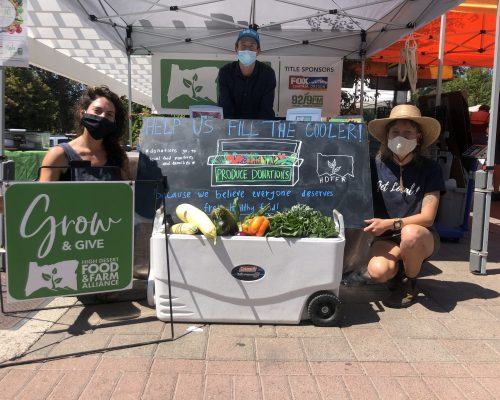 Photo of food donations at the farmers market